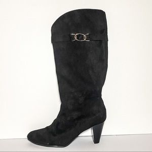 Black Suede Wide-Top Heeled Boots Size 11W